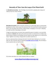Necessity of Time - Save the Lungs of Our Planet Earth.docx