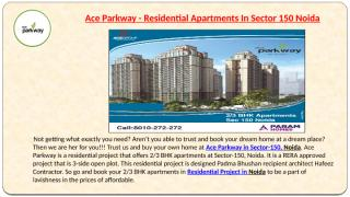Ace Parkway - Best Residential Apartments In Sector 150 Noida.pptx