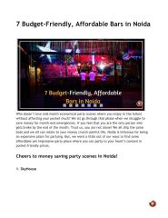 7 Budget-Friendly, Affordable Bars in Noida.pdf